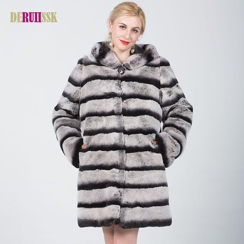 045f6bf4f Plus Size New Women Real Rex Rabbit Fur Coat Natural Fur Winter Jacket Women  with hood