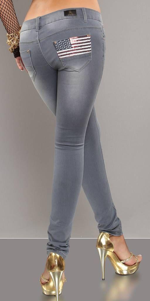 Skinny jeans met Amerikaanse print