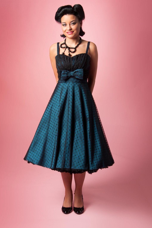 1940s Starlight Teal Black Lace Dot swing dress | Pinterest