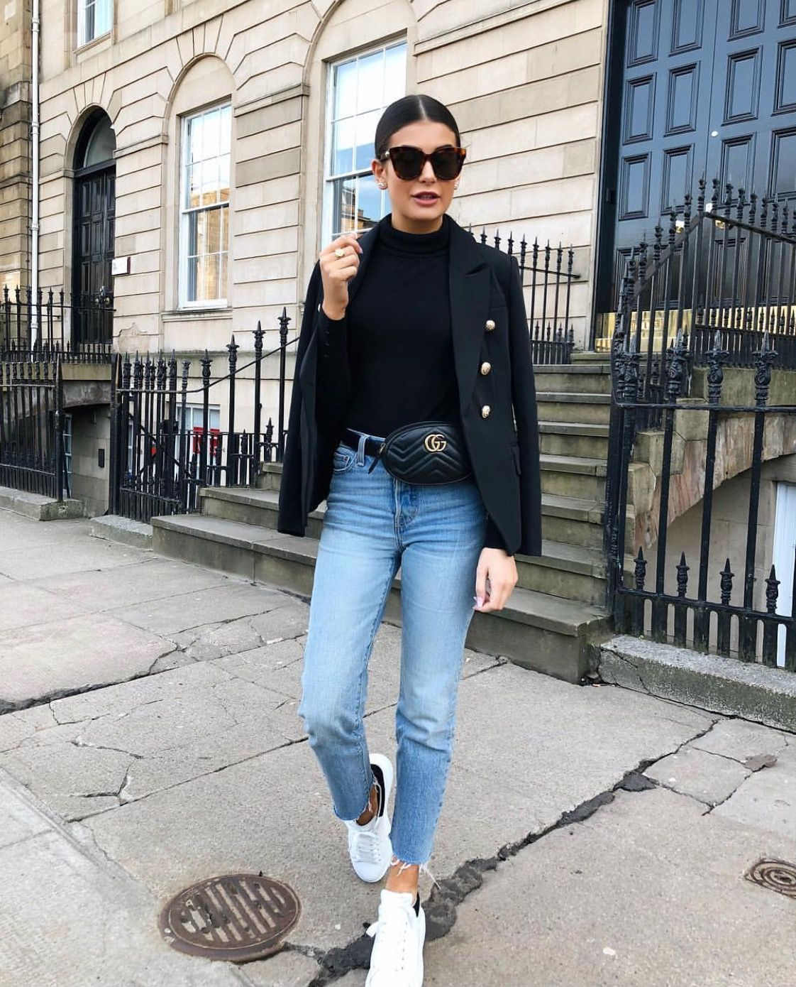 Street style , Levi wedgie mom jeans, Alexander McQueen trainers, Balmain blazer, Gucci Bum bag, Gucci belt bag, Gucci tortoise shell sunglasses - @fashionbymnp #denimstreetstyle