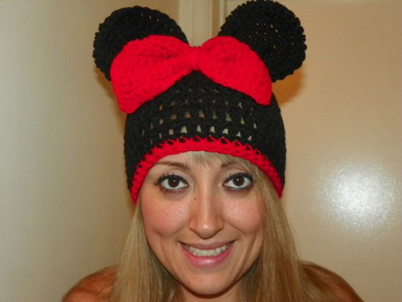Minnie Mouse Hat with a Red Bow and Trim  Teen by Susieskorner, $23.00