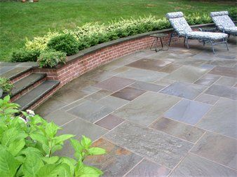 Bluestone Patio And Brick Wall Seating Height With Images Patio Bluestone Patio Shade Landscaping