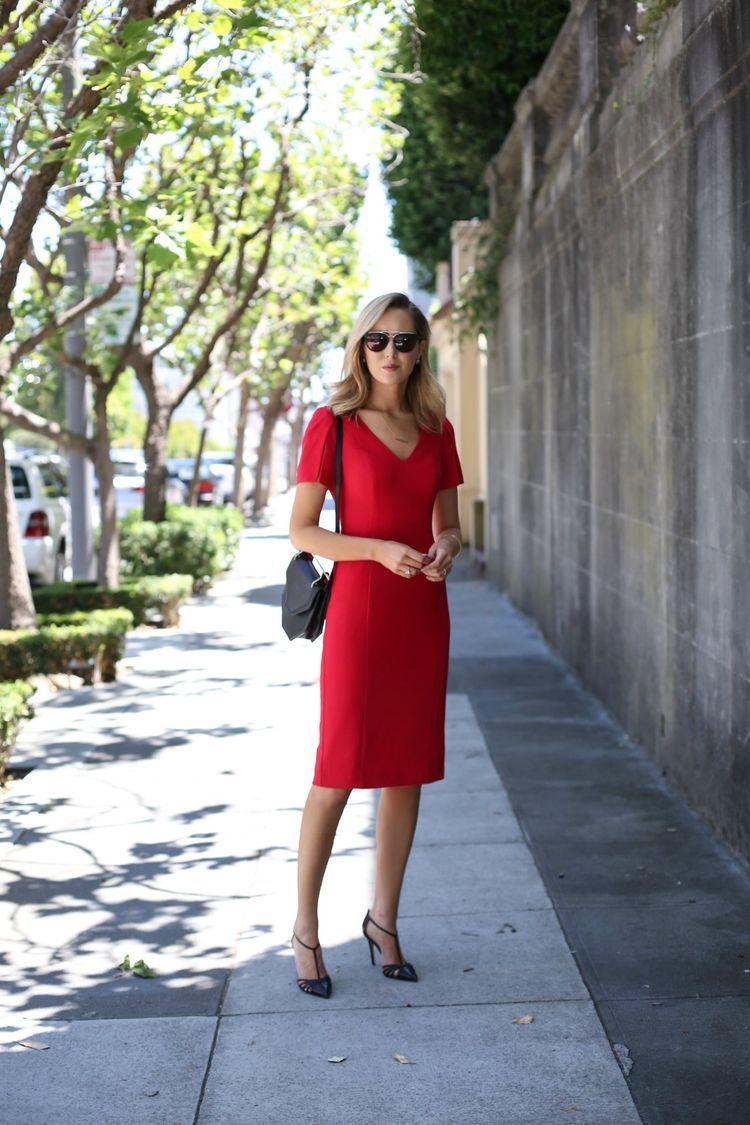 red sheath dress (memorandum) | elegance