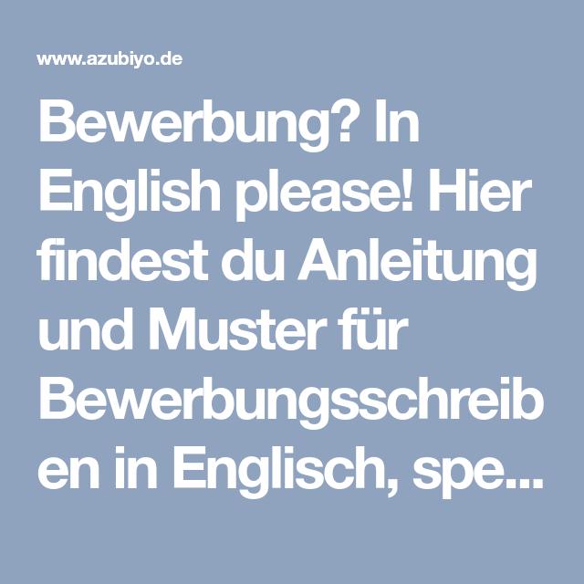 Bewerbung In English Please Hier Findest Du Anleitung Und