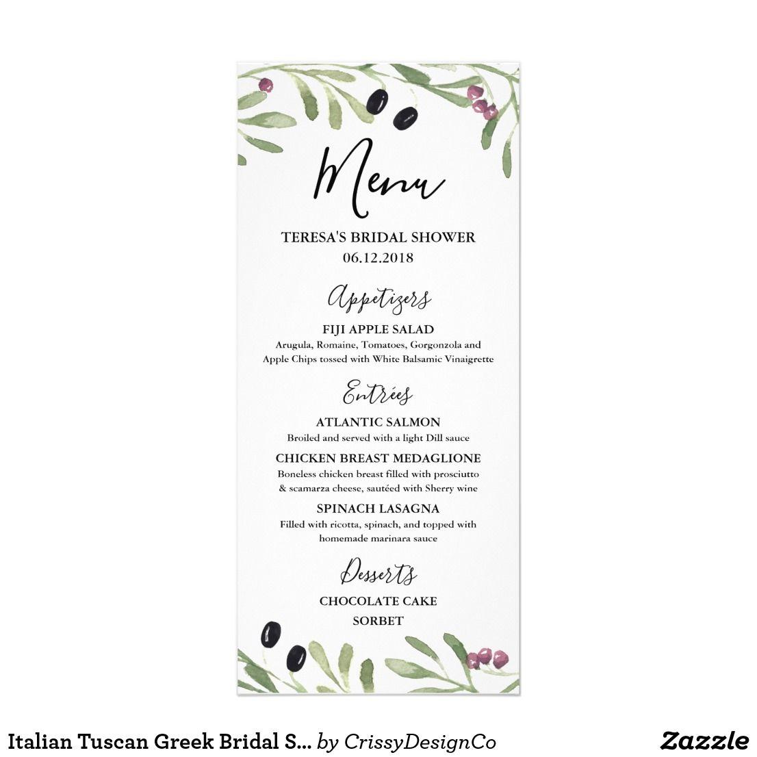 Italian tuscan greek bridal shower wedding menu rehearsal dinner