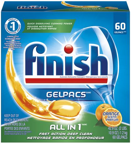 Finish Gelpacs Dishwasher Detergent All In 1 Orange 60 Tablets