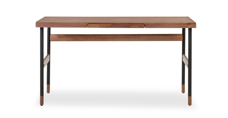 Urbane 55 Writing Desk Walnut In 2020 Modern Wood Desk Modern Classic Furniture Modern Desk