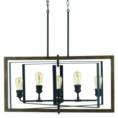 Progress Lighting Reserve Collection 5 Light Gilded Iron Linear Chandelier P7922 71
