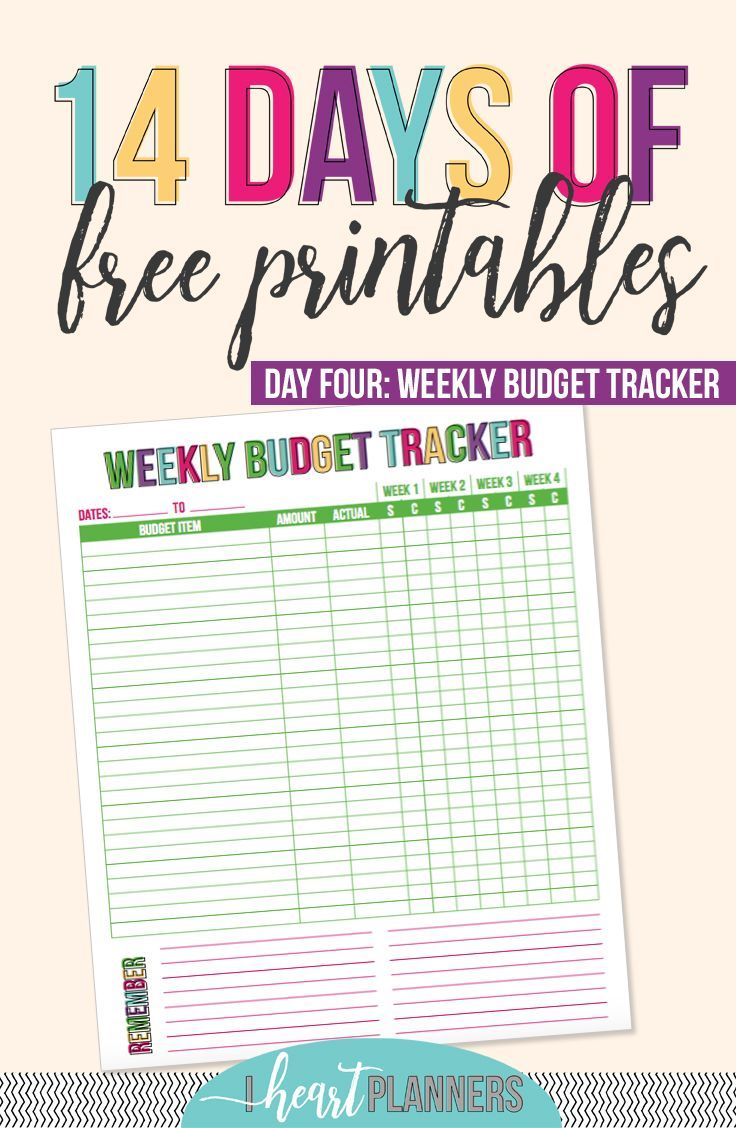 day 4 weekly budget tracker weekly budget budgeting and free