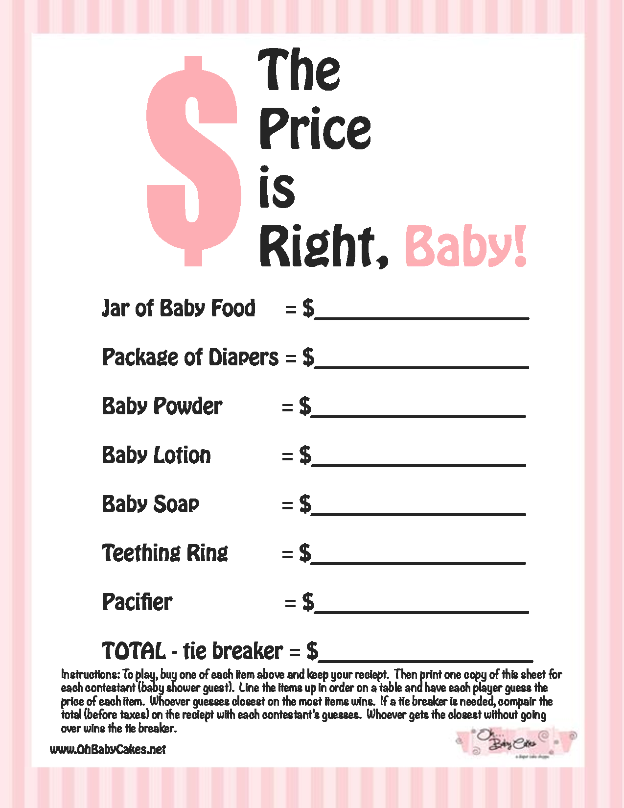 Printable girl baby shower game the price is right | instant.