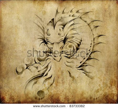 Tattoo art, sketch of a dragon over dirty background
