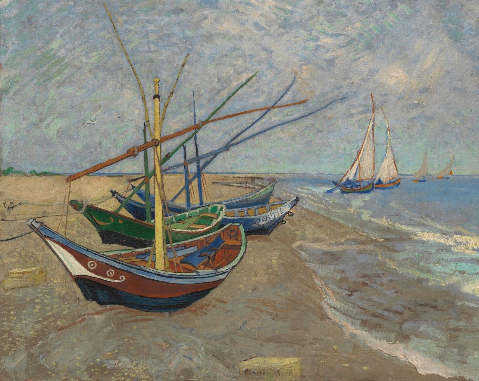 The boats are painted in an overly two-dimensional way, compared to the irregular surface of the sandy beach. They're made up of areas of uniform colour... - Van Gogh Museum - Google+