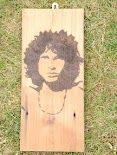 Jim Morrison hand burnt into Pine Wood www.pegasusandcrow.com By Simon Cook