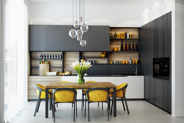 1001 Astuces Et Idees Pour Amenager Une Cuisine En L Meuble Bas Blanc Salle A Manger Table Carree Meuble Haut