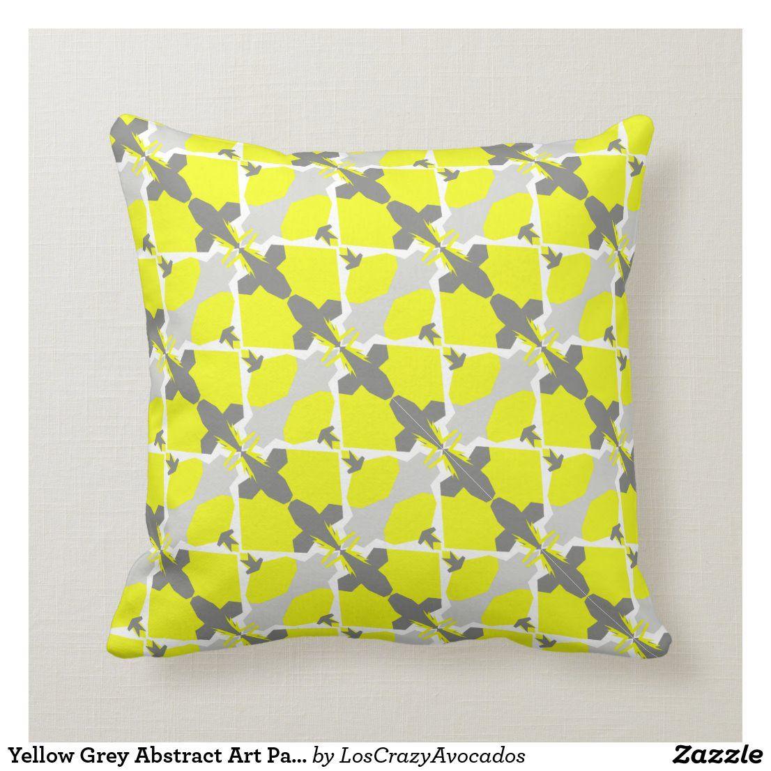 Yellow Grey Abstract Art Pattern Pillow Cushion In 2020 Grey Abstract Art Pillow Pattern Pillows