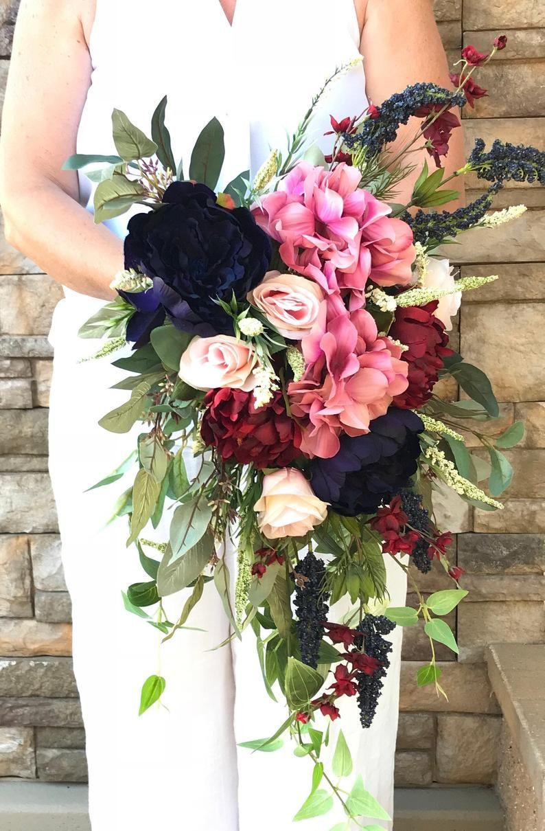 Cascading Extra Large Navy Burgundy Blush Bridal Bouquet