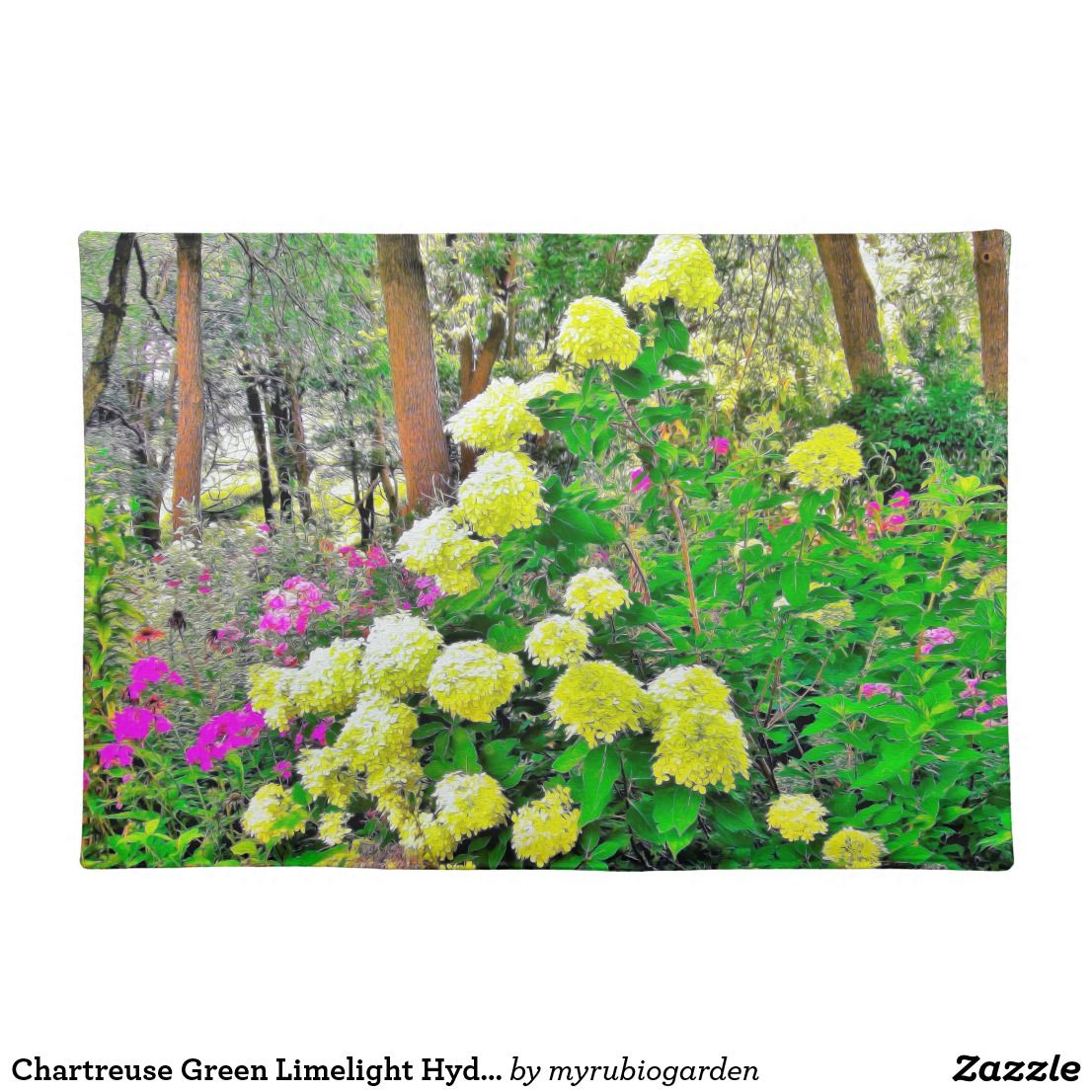Chartreuse Green Limelight Hydrangea Garden Cloth Placemat