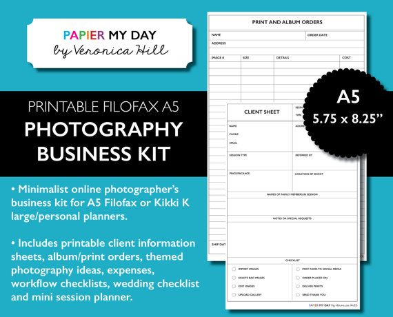 A5 Filofax Photography Business Kit