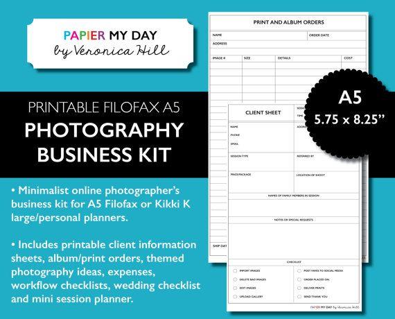 A5 Filofax Photography Business Kit - Printable Photography Planner Kit for Filofax and Kikki K Large Planners