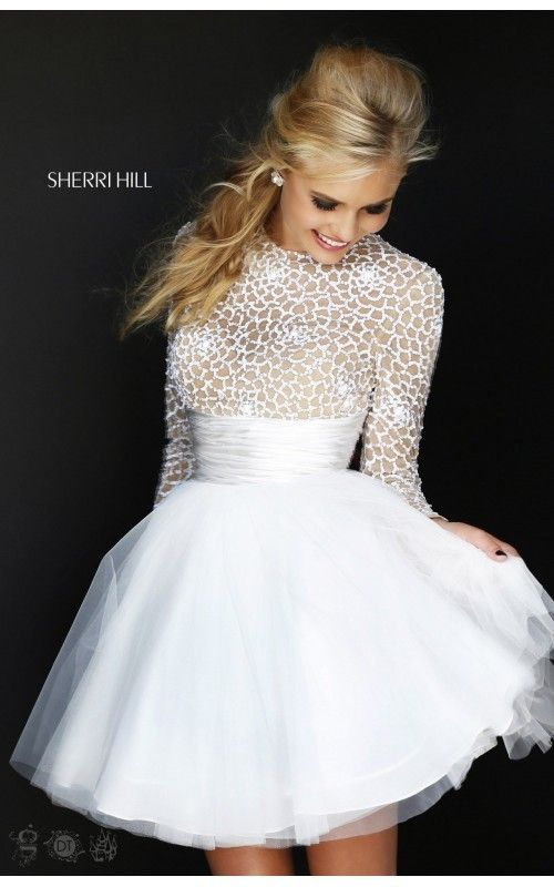 Sherri Hill 21233 Open Back White Prom Dresses | Sherri Hill Short ...