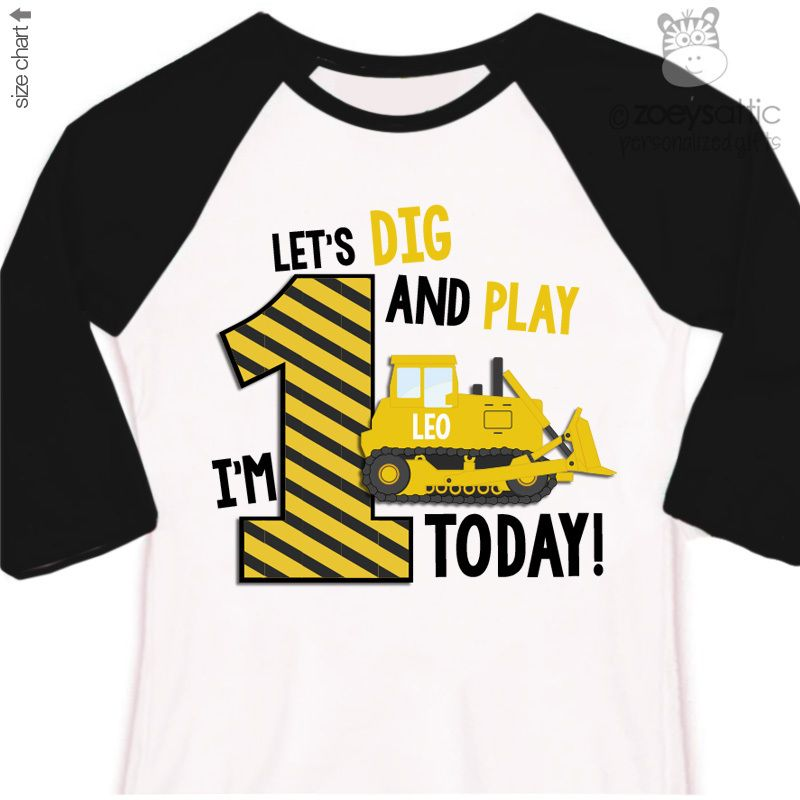 Personalized Kids Shirt Construction Bulldozer Boy 1st Birthday Raglan