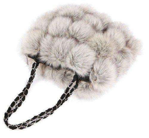 High Quality Gray Natural Genuine Rabbit Fur Purse    sariasknitncrochet - Bags & Purses on ArtFire