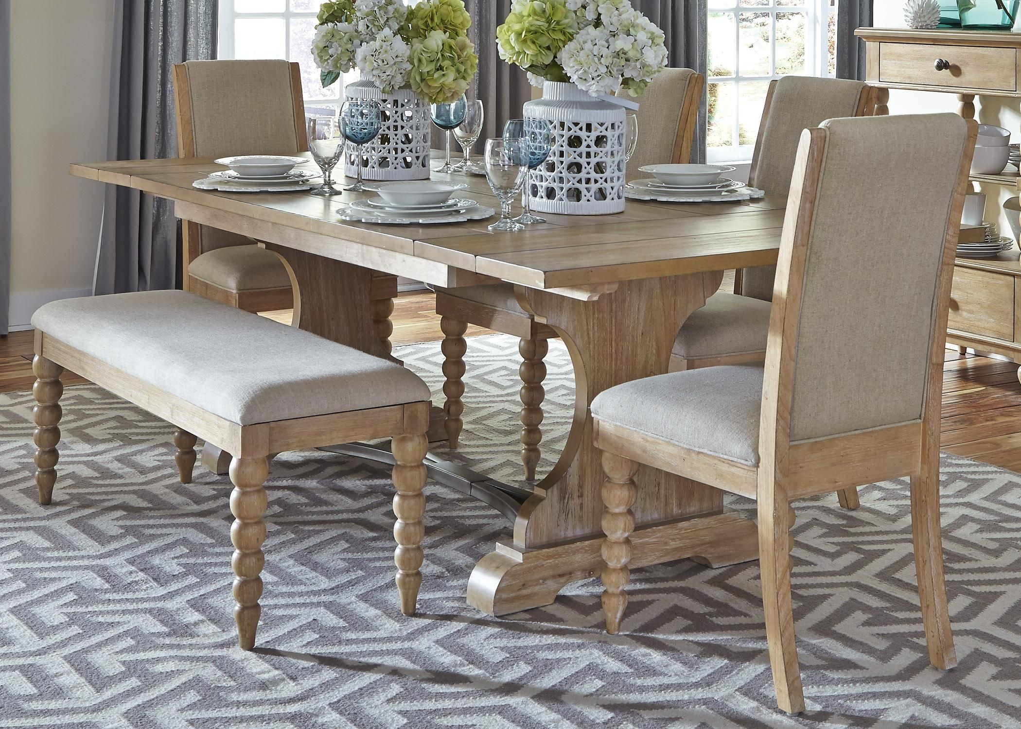 Harbor View Trestle Table and Side Chair and Bench Set by Liberty ...