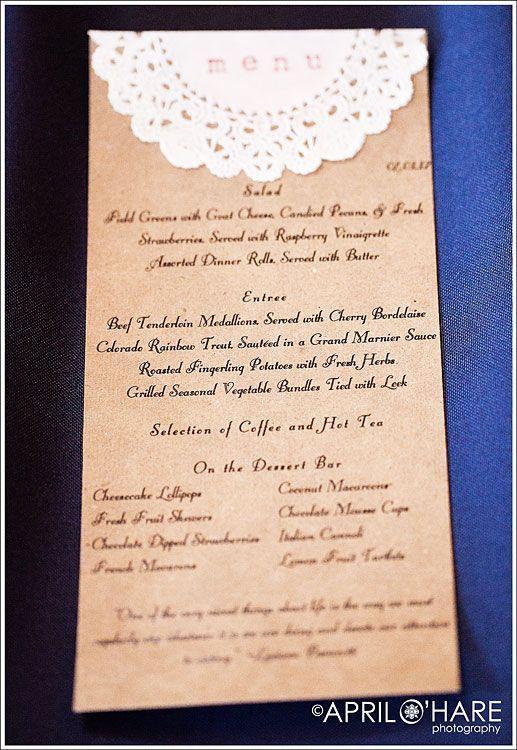 diy menu cards embossed on doilies on heavy printed