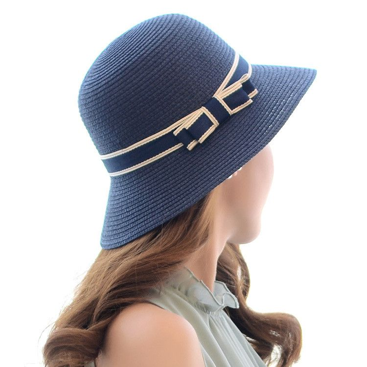 7f2cc654 Lady Boater sun caps Ribbon Round vaulted Top Straw Fedora Panama Hat  summer hats for women