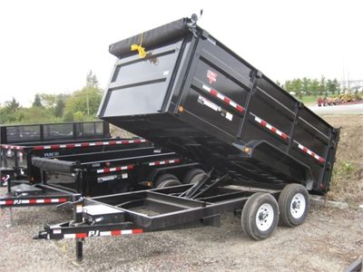 7x14 Pj Dump Trailer With 4 Tall Steel Sides 14 000gvw Loading Ramps Tarp Kit And More Dump Trailers For Sale Dump Trailers Trailers For Sale