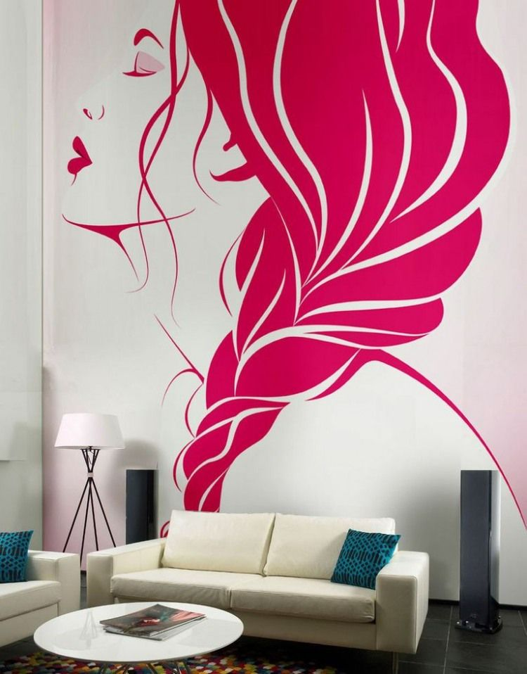 Genial Living Room, Creative Wall Decor Ideas With Pink Murals Applying Beautiful  Girls Face Design Beautify Modern Living Room: Lovely Painted Wall With  Pink ...
