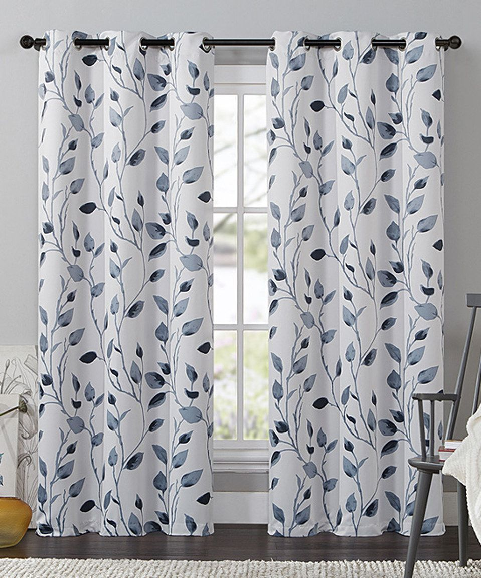 Love This Blue Leaf Printed Blackout Curtain Panel By