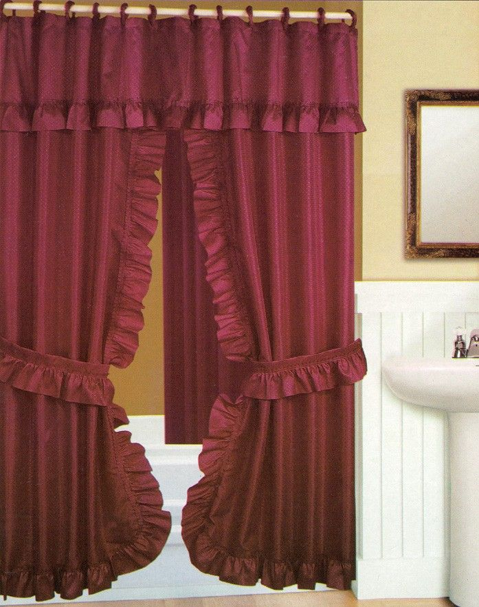 6 99double Swag Shower Curtain With Liner Set Burgundy 70 X 72