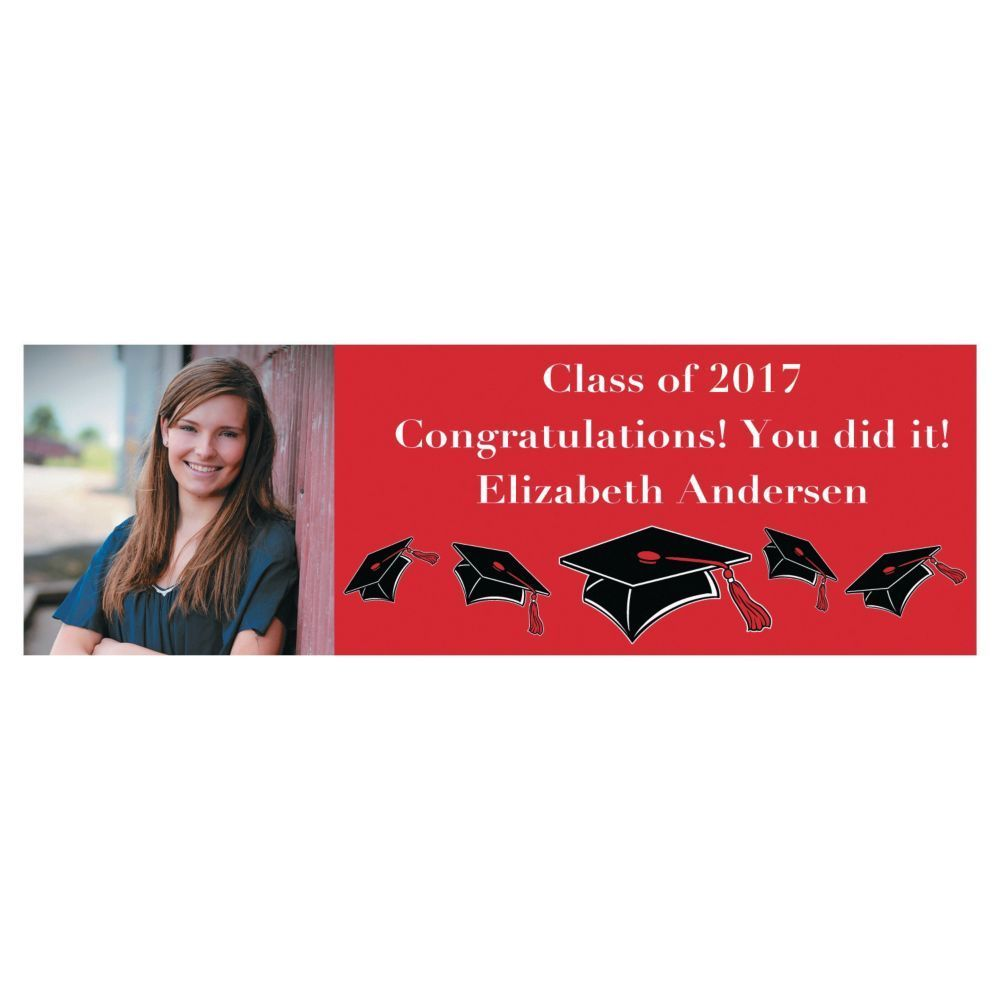 Custom Photo Medium Red Graduation Vinyl Banner | Vinyl banners ...