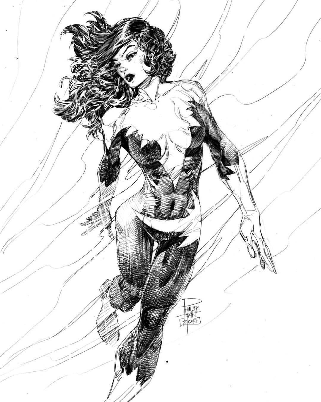 Aurora by phillip tan aurora xmen alphaflight mutants marvel comics pencil sketch art commission アメコミ 漫画
