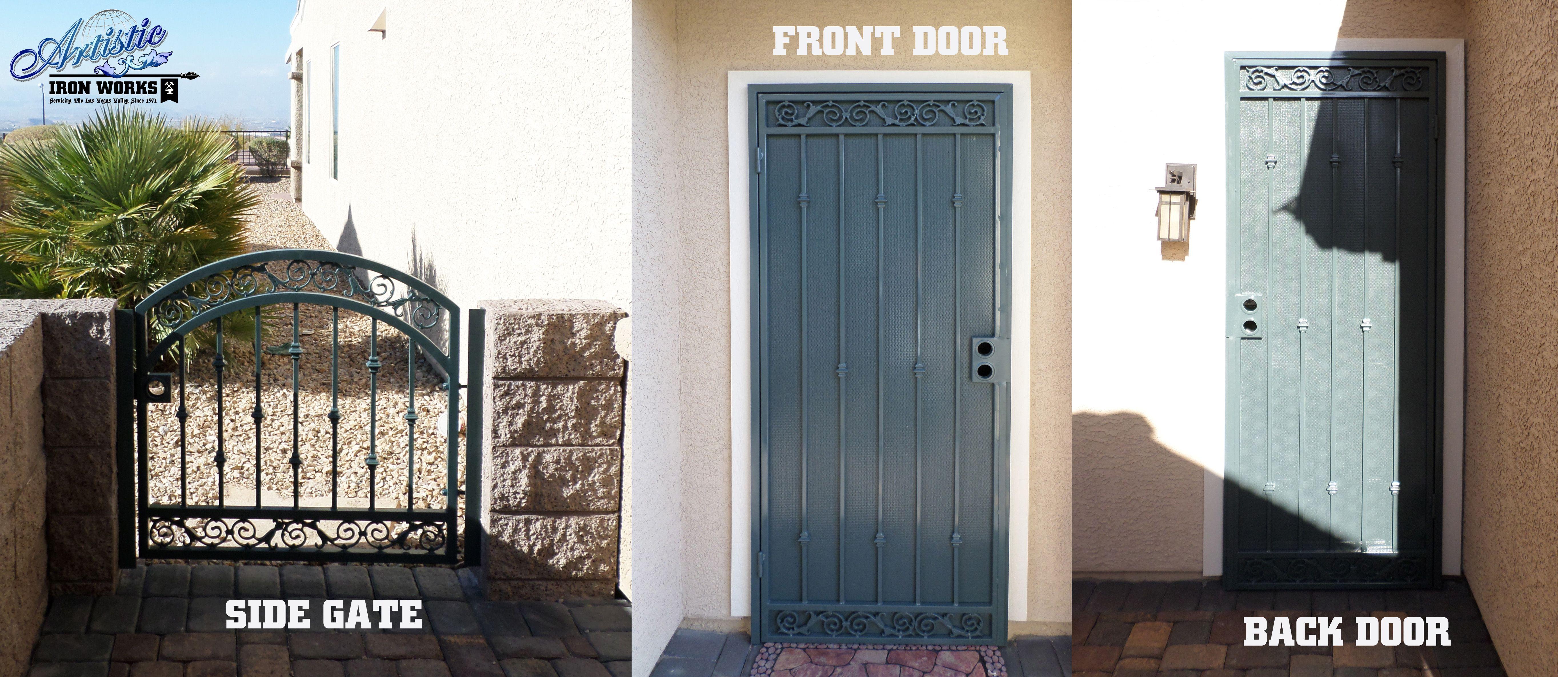 Santiago Matching Wrought Iron Security Doors And Gate Sd0159 Wrought Iron Security Doors Iron Security Doors Doors
