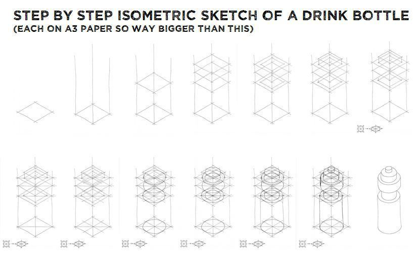 3d Drawing Techniques Isometric Sketch Bottle Drawing Bottle Sketch