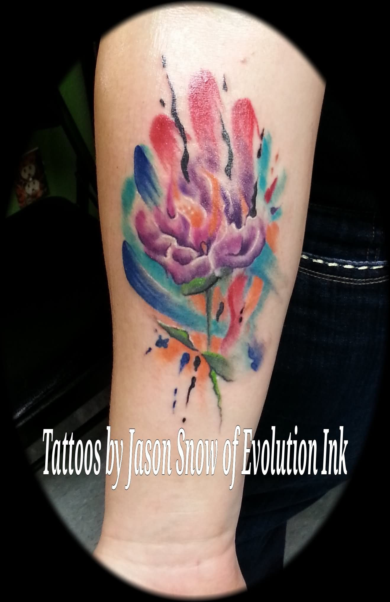 watercolor dahlia flower tattoo design for forearmjason snow