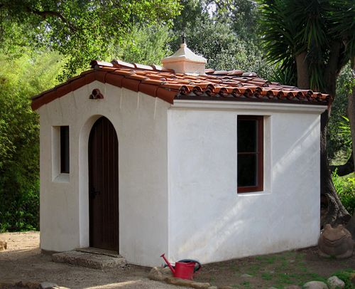 Spanish style gardener shed montecito santa barbara ca for Tiny house santa barbara