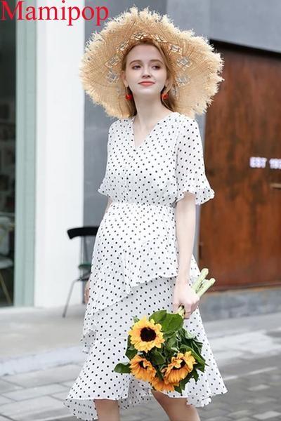 V-Ausschnitt Polka Dot Long Kurzärmliges schwangeres Kleid   – Floral Maternity Dresses