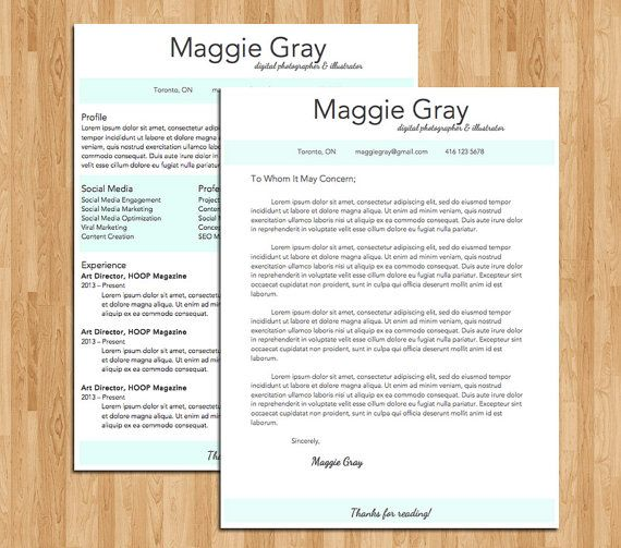 Resume Template / Cover Letter Template - Maggie Package Design
