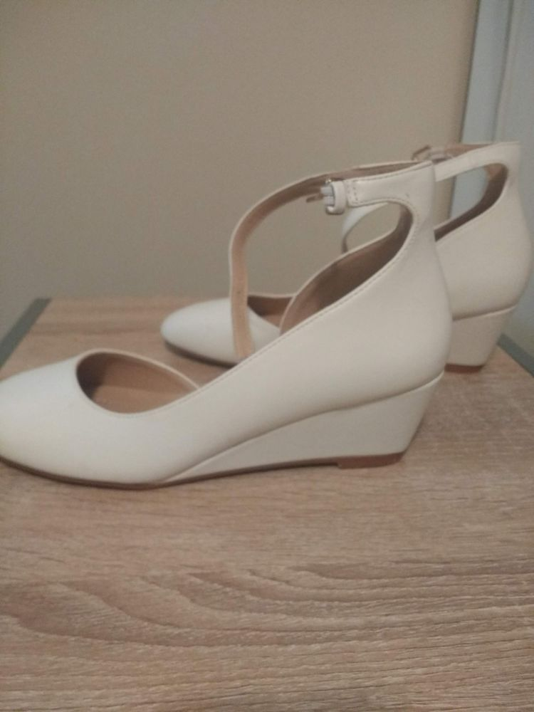 1991b62aa0 White bridal shoes wedge pump size 8.5 with buckle #fashion #clothing #shoes  #accessories #womensshoes #heels (ebay link)