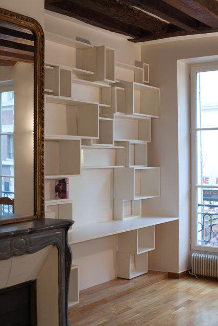 Bureau intégré bibliothèque | Bureau - Workstation | Pinterest ...