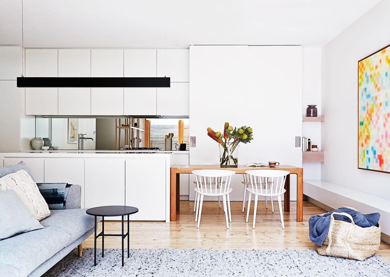 Kitchen Matt White Handleless Cabinets Mirror Splashback