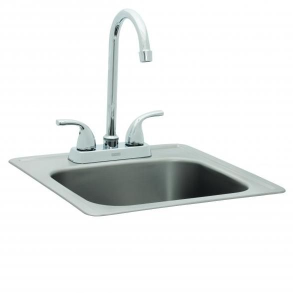 Bull 15 Inch Single Bowl Stainless Steel Sink W Hot Cold Faucet
