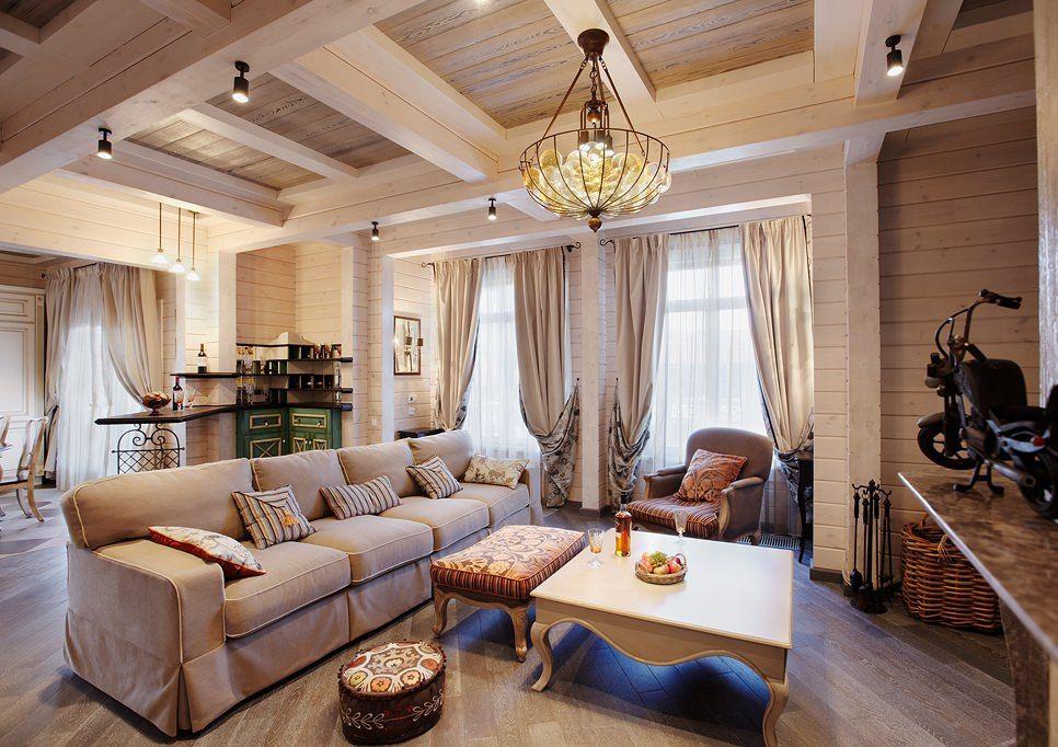 интерьер дома из клееного бруса может быть и стильным и элегантным