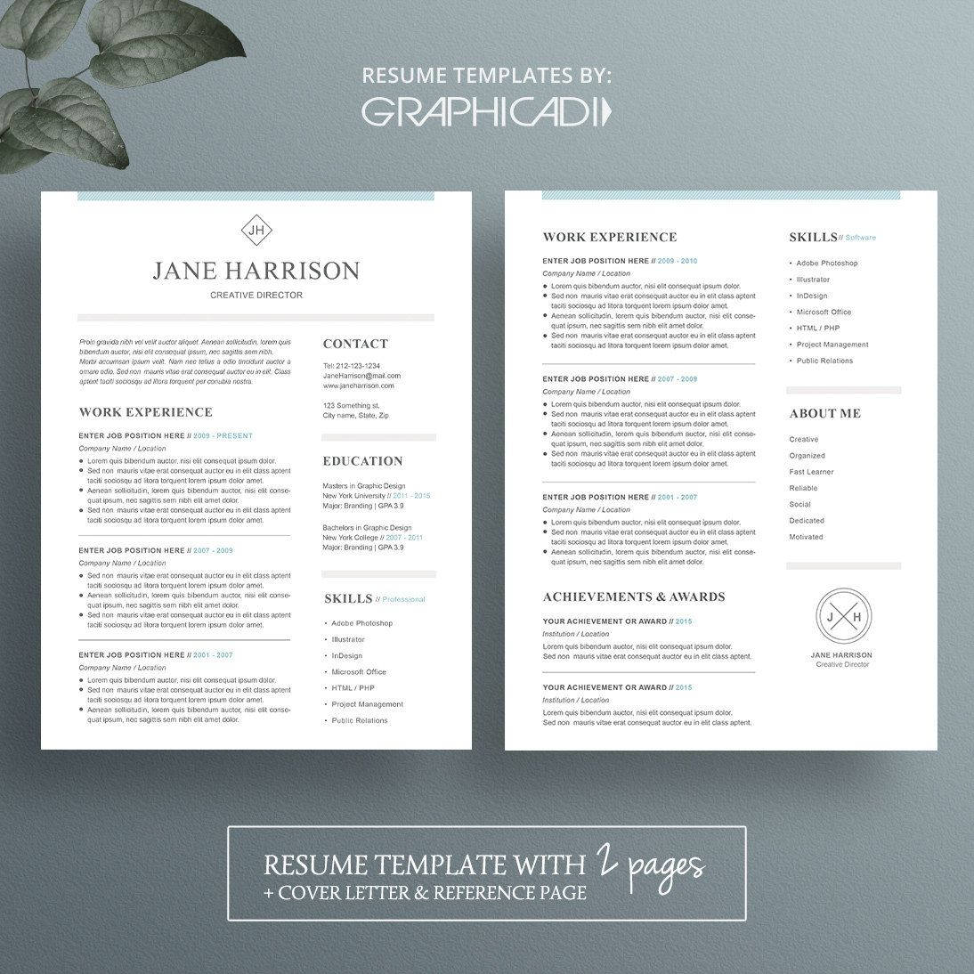 1 & 2 page resume template with cover letter and reference