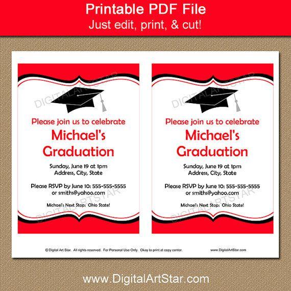Graduation Invitation Instant Download por digitalartstar en Etsy