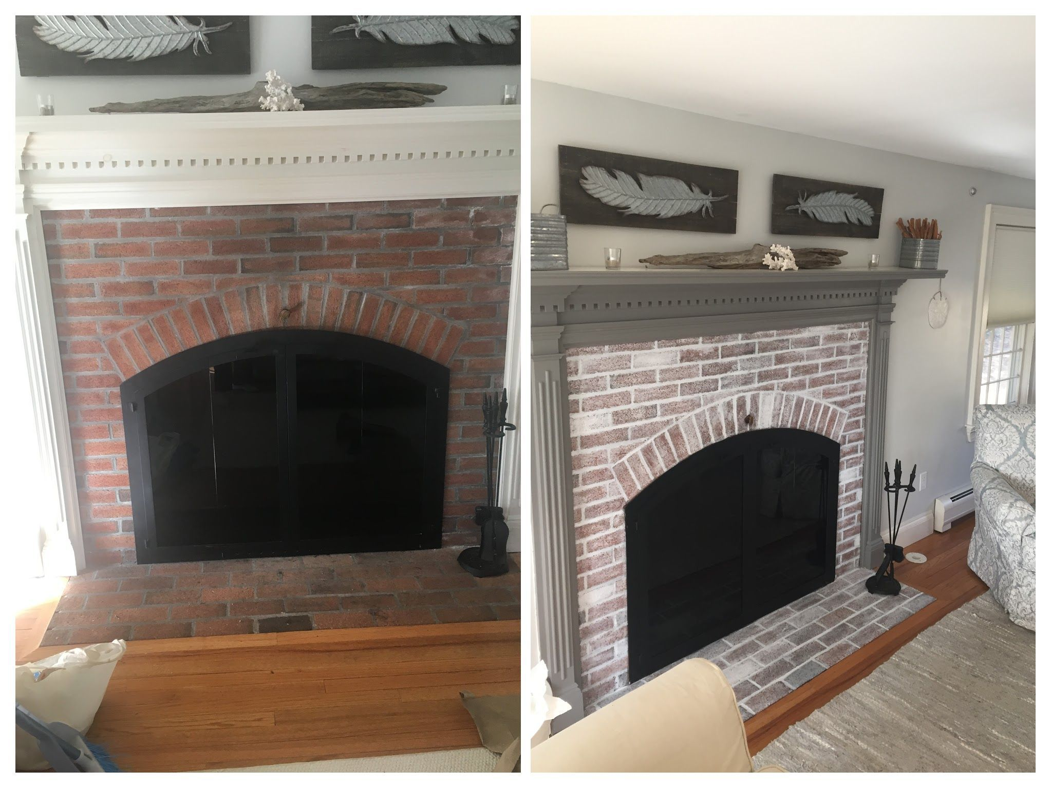 White wash fireplace before and after i need to remodel my home