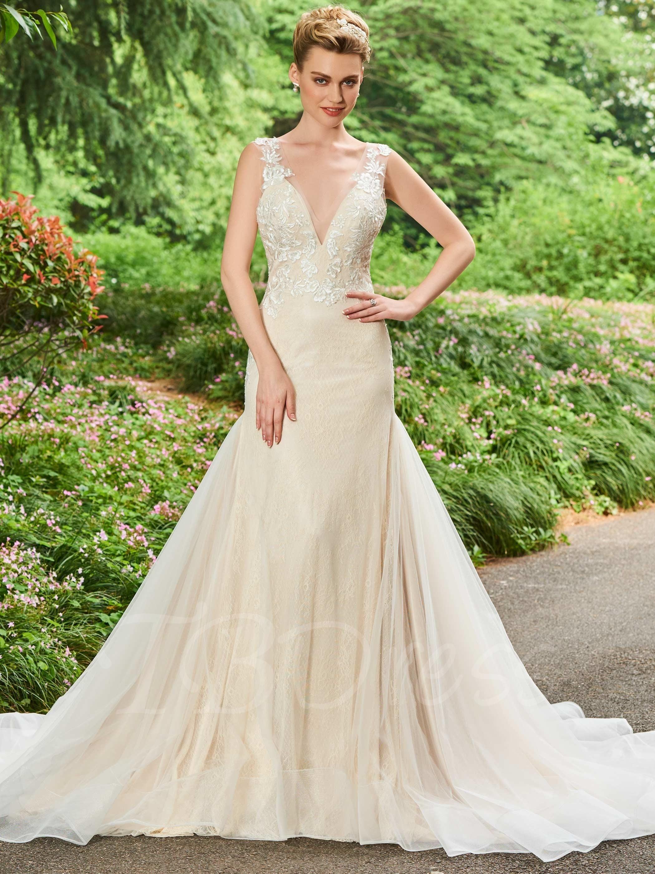Mermaid lace wedding dress  TBDress  TBDress VNeck Appliques Mermaid Lace Wedding Dress